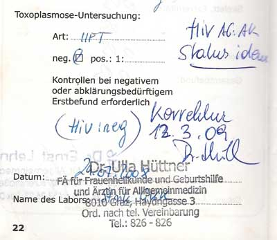 HIV-Negativ Mutterkindpass Seebald